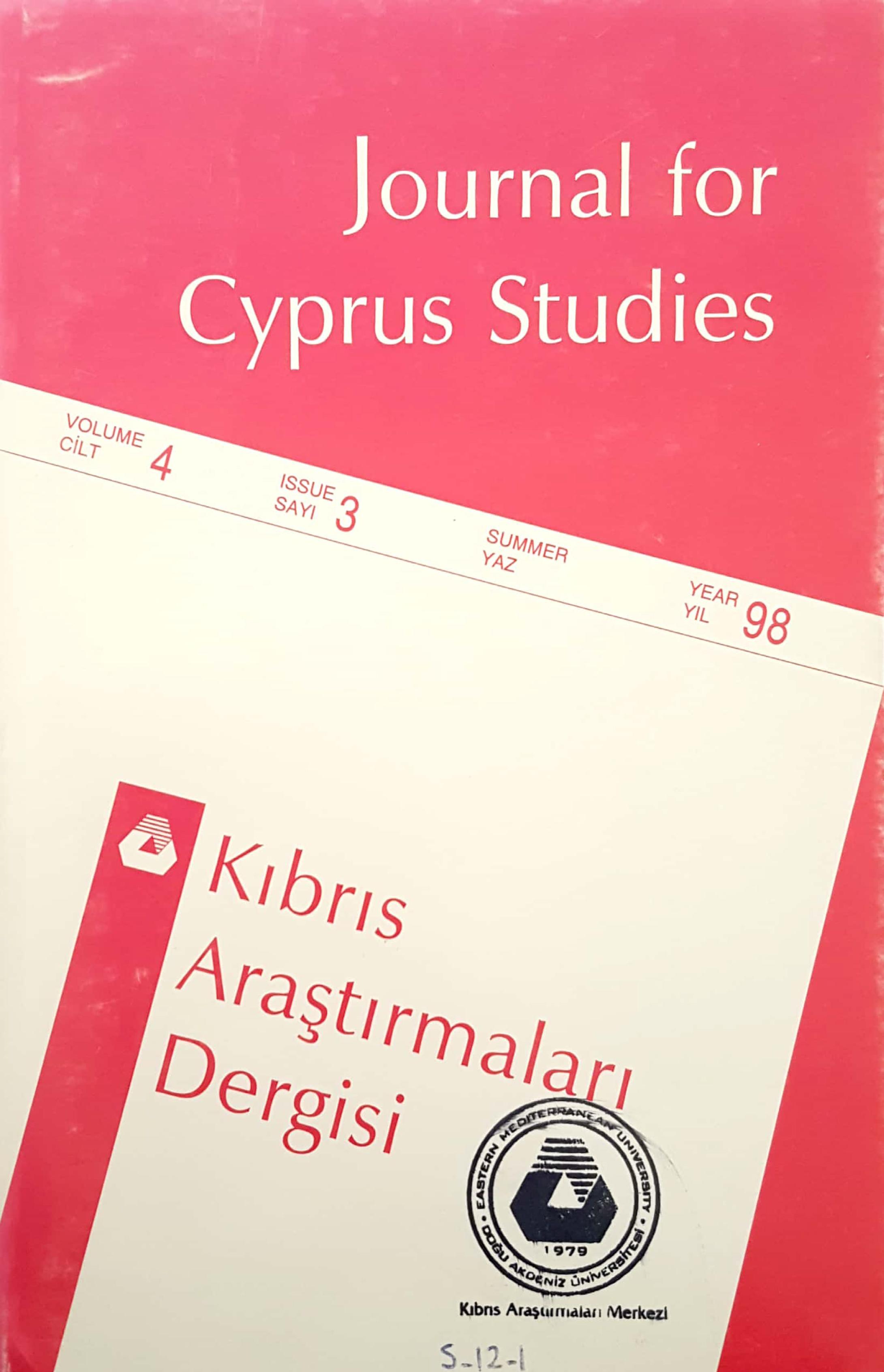View Vol. 4 No. 3 (1998): Journal of Cyprus Studies